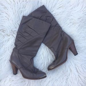 Dingo Vintage Gold Toe Slouch Heeled Boots 6.5